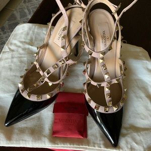 Valentino Black Patent Leather Studs Shoes